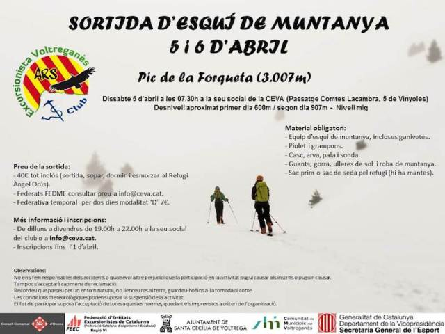 SORTIDA D'ESQUÍ DE MUNTANYA - 5 i 6 d'abril